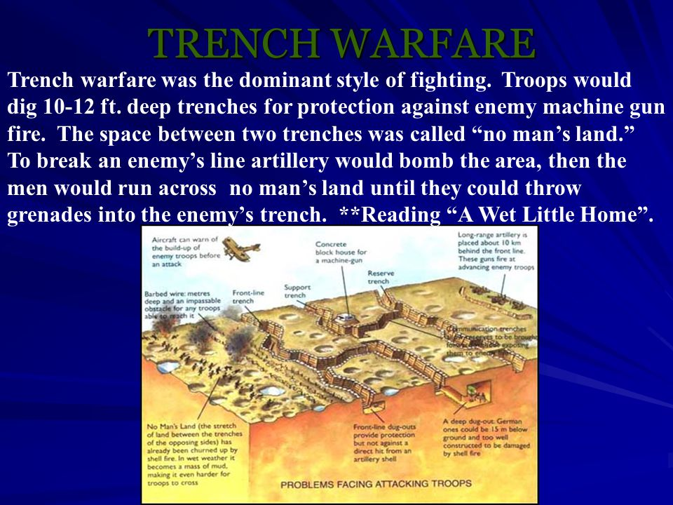 TRENCH WARFARE Trench warfare was the dominant style of fighting. Troops would dig 10-12 ft. deep trenches for protection against enemy machine gun fi