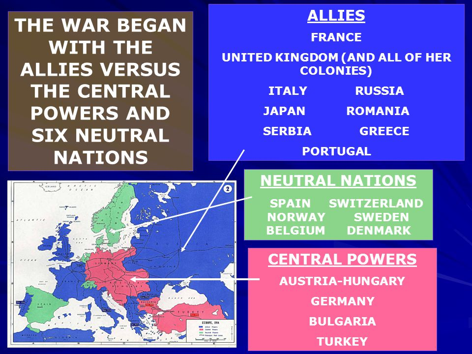 THE WAR BEGAN WITH THE ALLIES VERSUS THE CENTRAL POWERS AND SIX NEUTRAL NATIONS CENTRAL POWERS AUSTRIA-HUNGARY GERMANY BULGARIA TURKEY ALLIES FRANCE U
