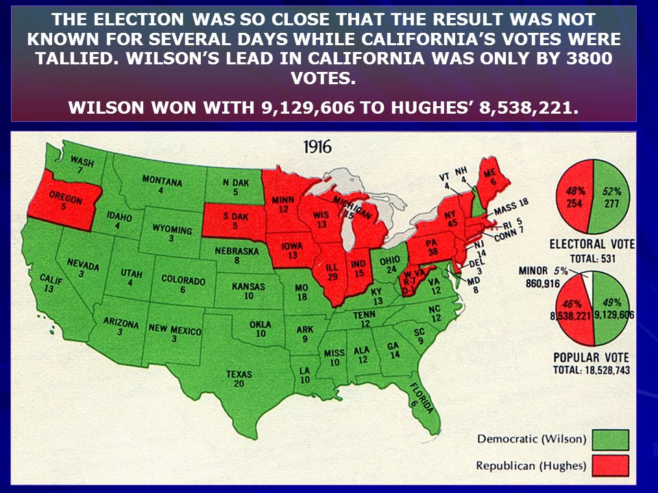 THE ELECTION WAS SO CLOSE THAT THE RESULT WAS NOT KNOWN FOR SEVERAL DAYS WHILE CALIFORNIA'S VOTES WERE TALLIED. WILSON'S LEAD IN CALIFORNIA WAS ONLY B