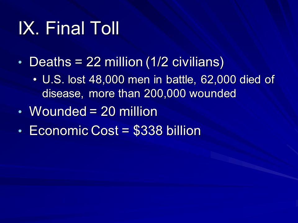 IX. Final Toll Deaths = 22 million (1/2 civilians) Deaths = 22 million (1/2 civilians) U.S. lost 48,000 men in battle, 62,000 died of disease, more th