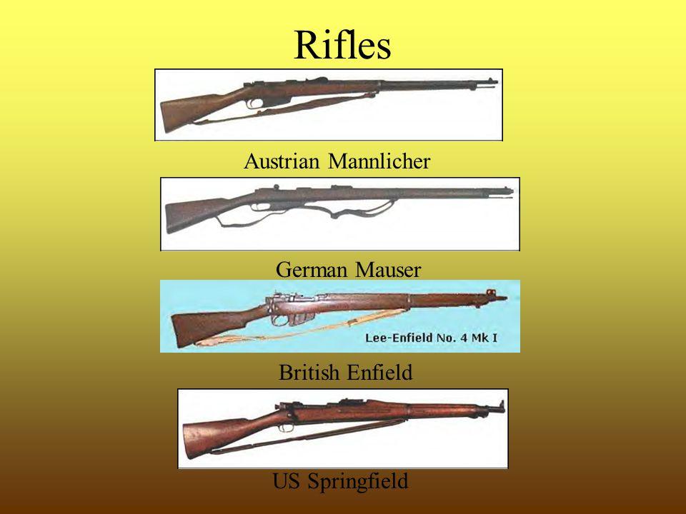 Rifles Austrian Mannlicher German Mauser British Enfield US Springfield