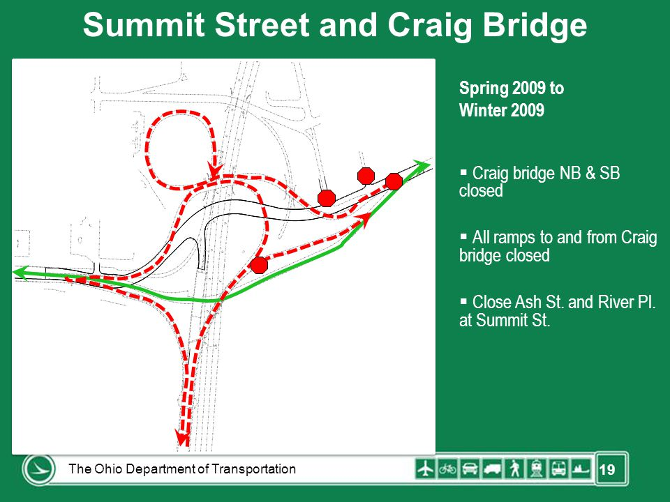 19 Spring 2009 to Winter 2009  Craig bridge NB & SB closed  All ramps to and from Craig bridge closed  Close Ash St. and River Pl. at Summit St. Su