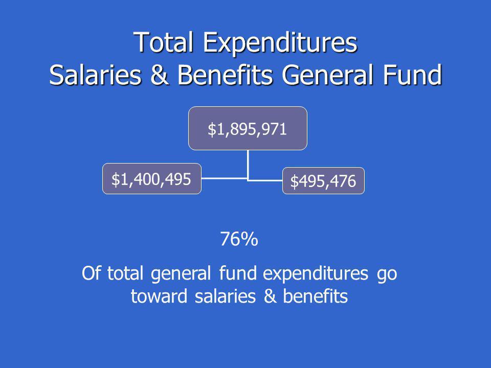 Total Expenditures Salaries & Benefits General Fund $1,895,971 $1,400,495 $495,476 76% Of total general fund expenditures go toward salaries & benefits