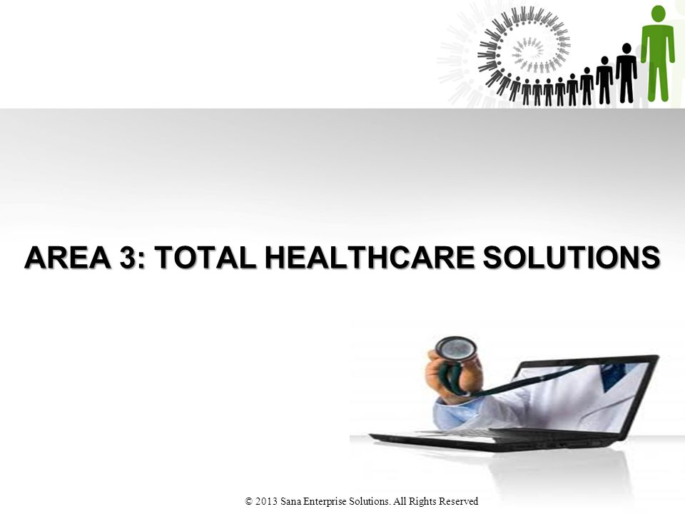 AREA 3: TOTAL HEALTHCARE SOLUTIONS © 2013 Sana Enterprise Solutions. All Rights Reserved