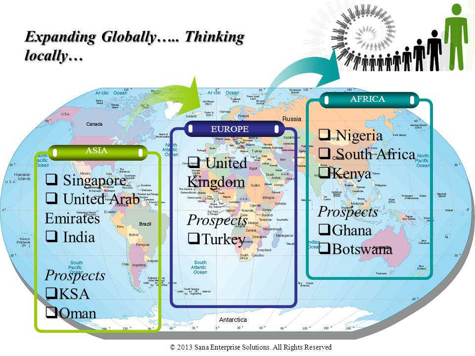 Expanding Globally….. Thinking locally… EUROPE AFRICA ASIA  Singapore  United Arab Emirates  India Prospects  KSA  Oman  United Kingdom Prospect