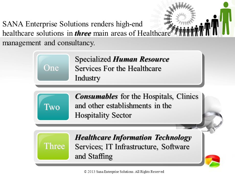 One Two Three Healthcare Information Technology Services; IT Infrastructure, Software and Staffing three SANA Enterprise Solutions renders high-end healthcare solutions in three main areas of Healthcare management and consultancy.