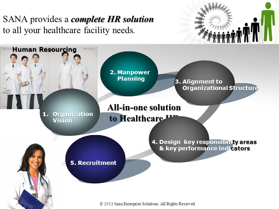 complete HR solution SANA provides a complete HR solution to all your healthcare facility needs. All-in-one solution to Healthcare HR Human Resourcing