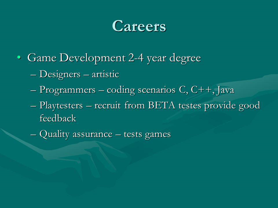 Careers Game Development 2-4 year degreeGame Development 2-4 year degree –Designers – artistic –Programmers – coding scenarios C, C++, Java –Playtesters – recruit from BETA testes provide good feedback –Quality assurance – tests games