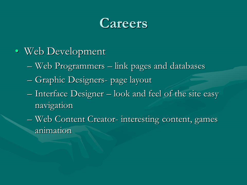 Careers Web DevelopmentWeb Development –Web Programmers – link pages and databases –Graphic Designers- page layout –Interface Designer – look and feel of the site easy navigation –Web Content Creator- interesting content, games animation