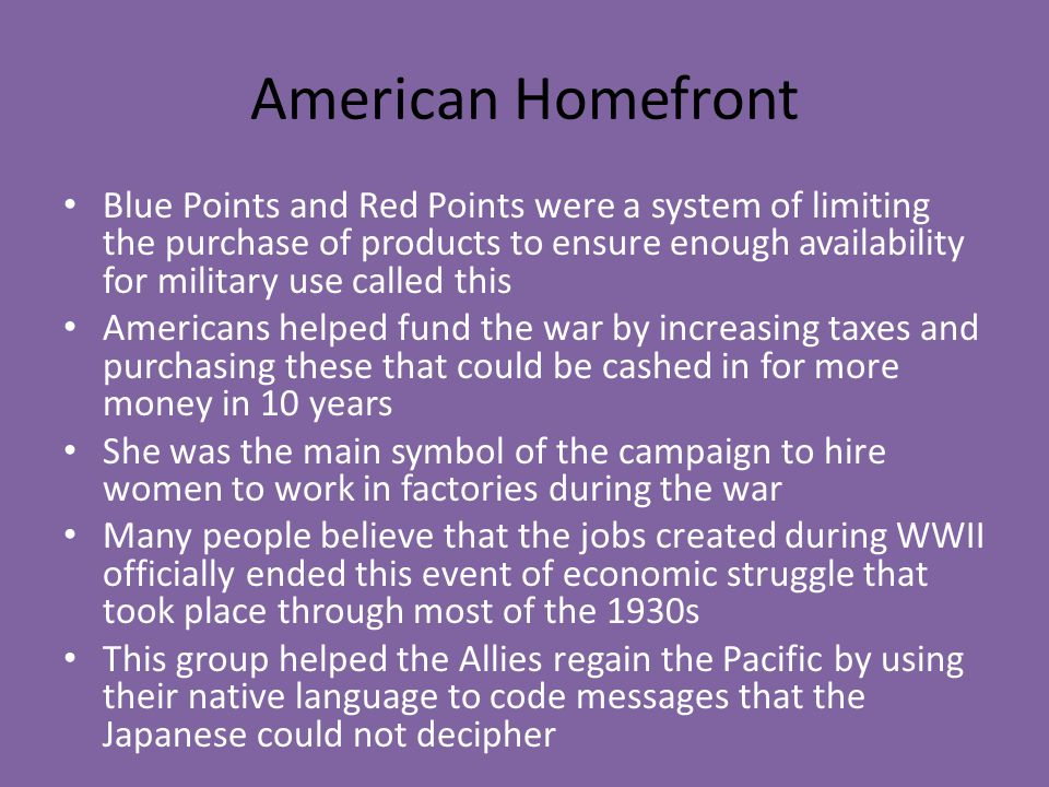 American Homefront Blue Points and Red Points were a system of limiting the purchase of products to ensure enough availability for military use called