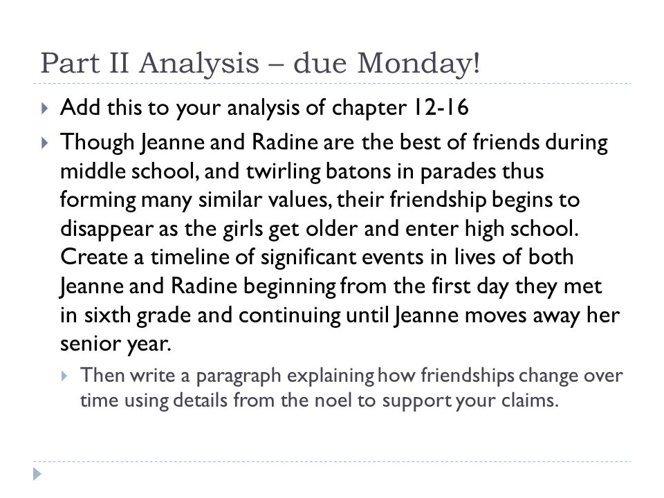 Part II Analysis – due Monday!  Add this to your analysis of chapter 12-16  Though Jeanne and Radine are the best of friends during middle school, a