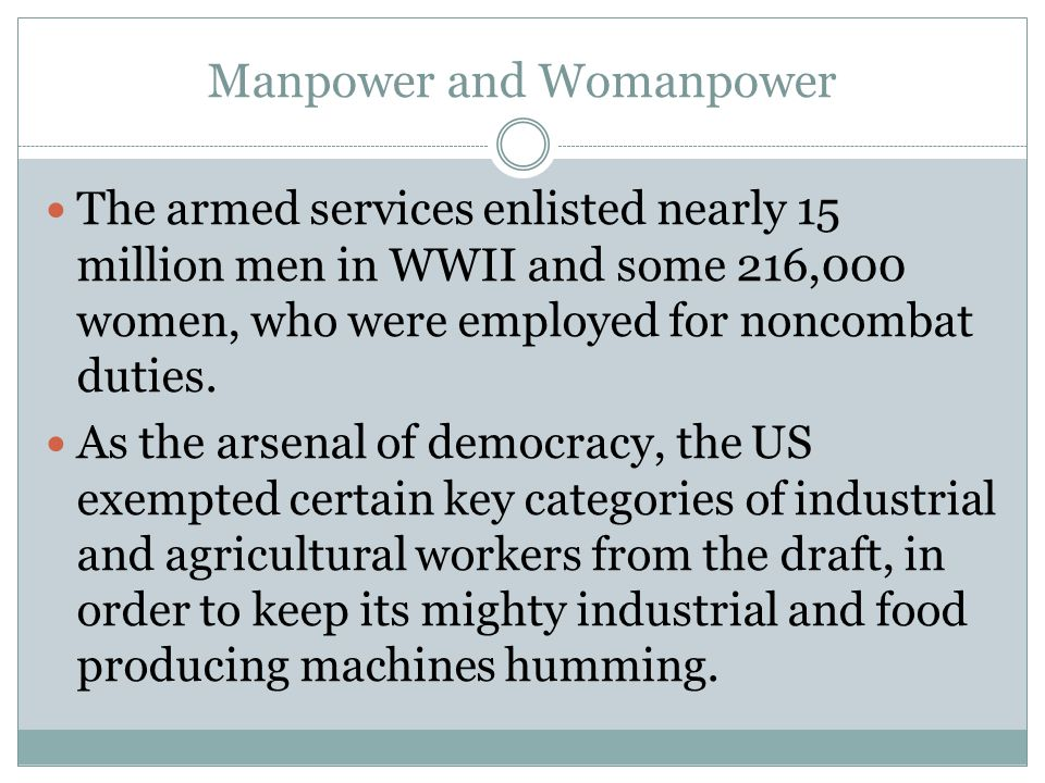 Manpower and Womanpower The armed services enlisted nearly 15 million men in WWII and some 216,000 women, who were employed for noncombat duties. As t
