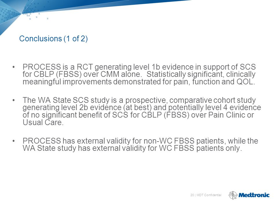 20 | MDT Confidential PROCESS is a RCT generating level 1b evidence in support of SCS for CBLP (FBSS) over CMM alone.