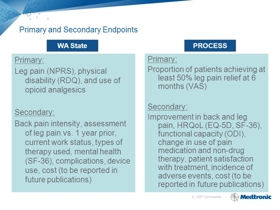 6 | MDT Confidential Primary and Secondary Endpoints Primary: Leg pain (NPRS), physical disability (RDQ), and use of opioid analgesics Secondary: Back pain intensity, assessment of leg pain vs.