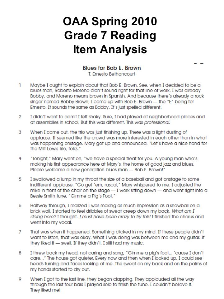 OAA Spring 2010 Grade 7 Reading Item Analysis