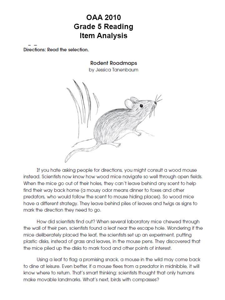 OAA 2010 Grade 5 Reading Item Analysis