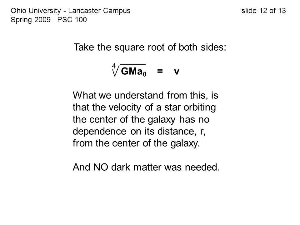 Ohio University - Lancaster Campus slide 12 of 13 Spring 2009 PSC 100 Take the square root of both sides: GMa 0 = v What we understand from this, is t