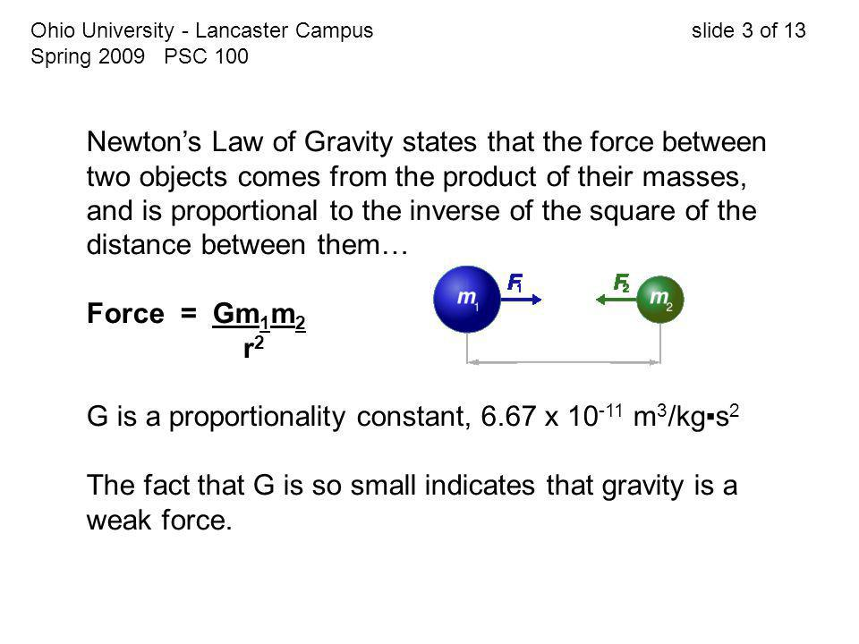 Ohio University - Lancaster Campus slide 3 of 13 Spring 2009 PSC 100 Newton's Law of Gravity states that the force between two objects comes from the product of their masses, and is proportional to the inverse of the square of the distance between them… Force = Gm 1 m 2 r 2 G is a proportionality constant, 6.67 x 10 -11 m 3 /kg▪s 2 The fact that G is so small indicates that gravity is a weak force.