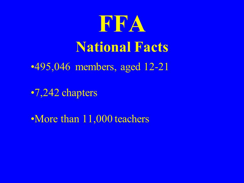 FFA National Facts National FFA Center is in Indianapolis, Indiana.