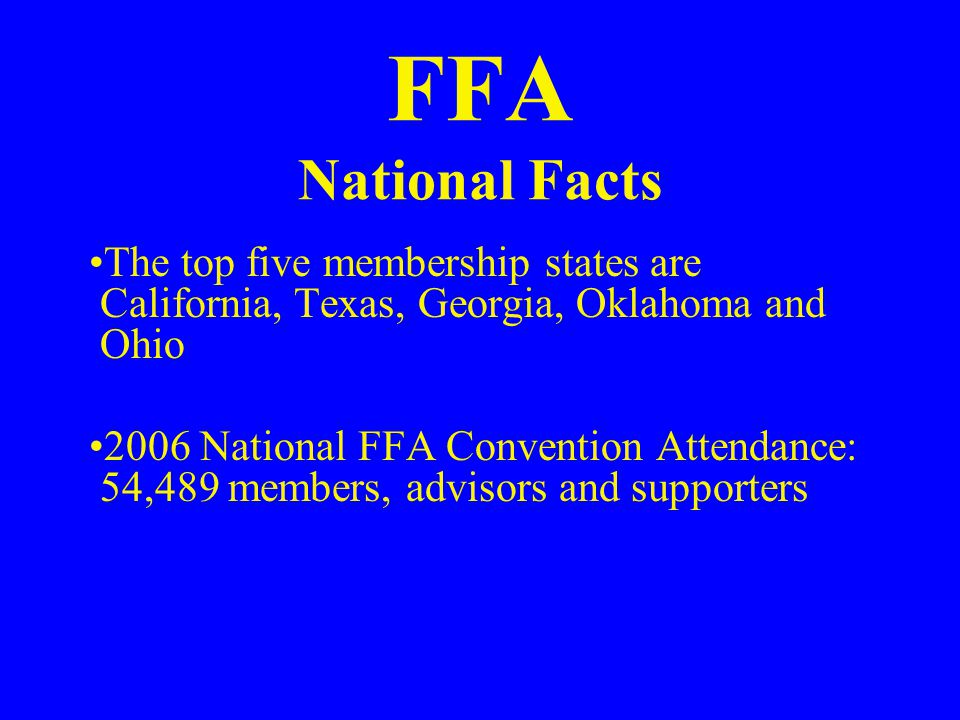 27% of FFA members live in rural, farm areas; the remainder live in rural non-farm (39%), urban and suburban areas (34%) FFA chapters are in 11 of the 20 largest cities, including New York, Chicago and Philadelphia
