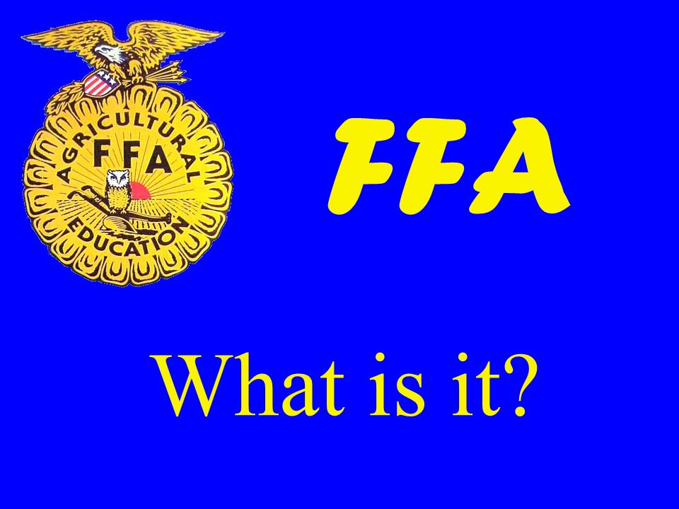 Objectives 1.Explain what is the FFA. 2.Explain how, when, and why the FFA was organized.