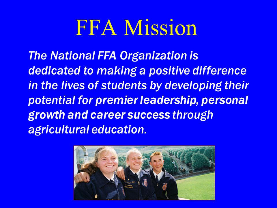 The FFA Purpose Recreation Patriotism Service Character Thrift Leadership Scholarship Improved Agriculture Cooperation Citizenship The purpose of the FFA is to develop: