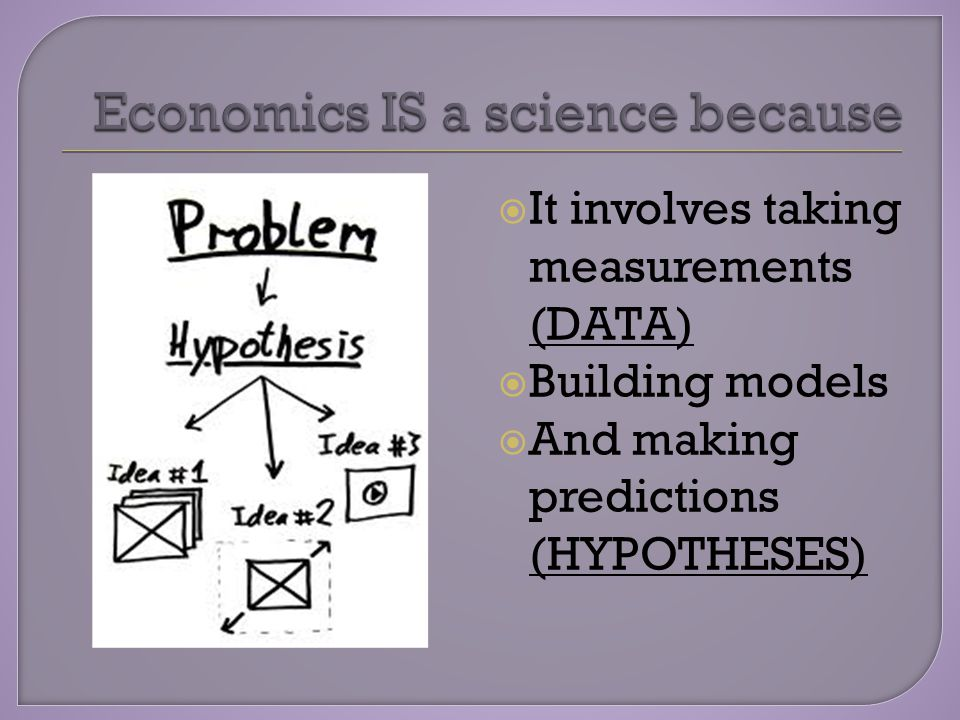  It involves taking measurements (DATA)  Building models  And making predictions (HYPOTHESES)
