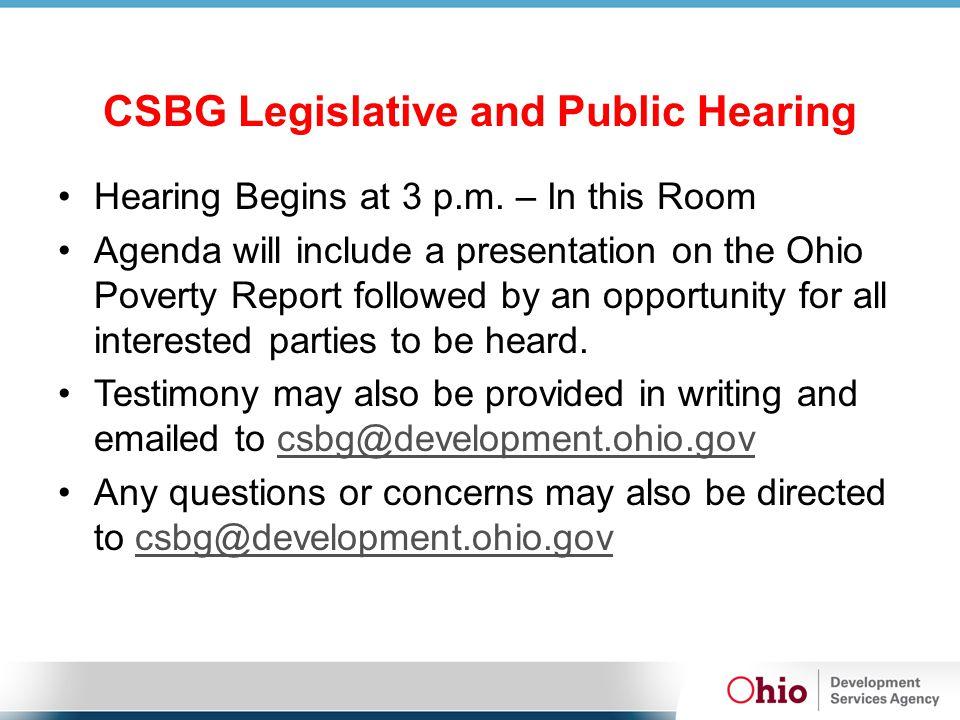 CSBG Legislative and Public Hearing Hearing Begins at 3 p.m.