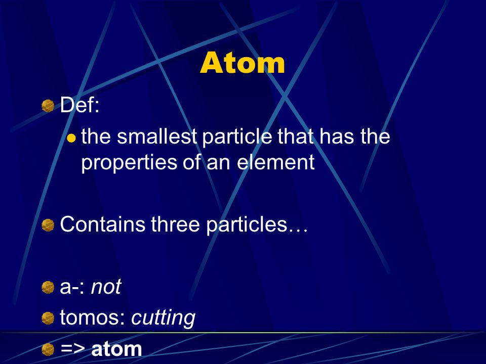 Compound Def: a substance made of atoms of more than one element bonded together Examples of compounds …
