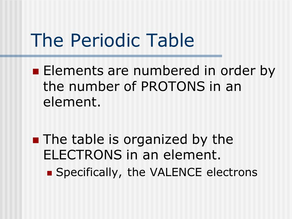 The Periodic Table Elements are numbered in order by the number of PROTONS in an element. The table is organized by the ELECTRONS in an element. Speci