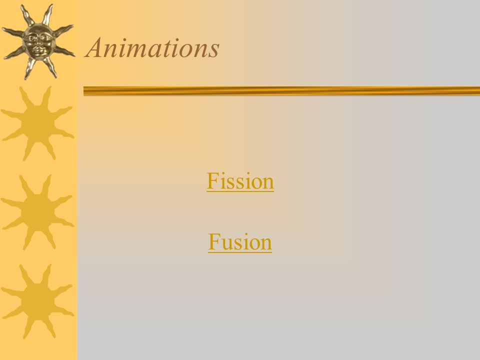 Animations Fission Fusion