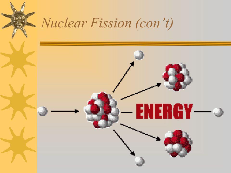 Nuclear Fission (con't)