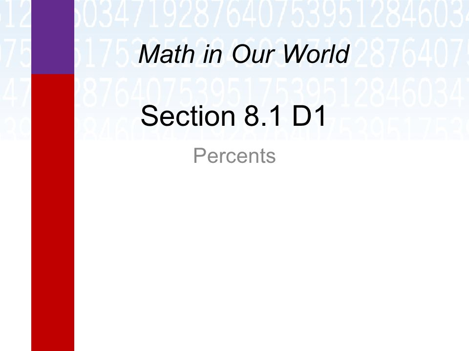 Section 8.1 D1 Percents Math in Our World