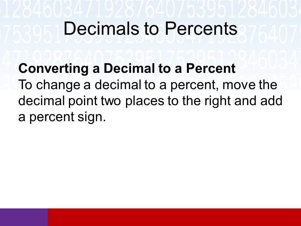 Decimals to Percents Converting a Decimal to a Percent To change a decimal to a percent, move the decimal point two places to the right and add a percent sign.
