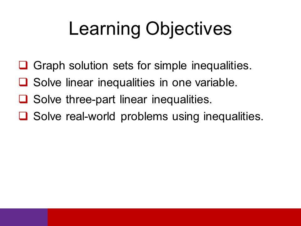 Learning Objectives  Graph solution sets for simple inequalities.