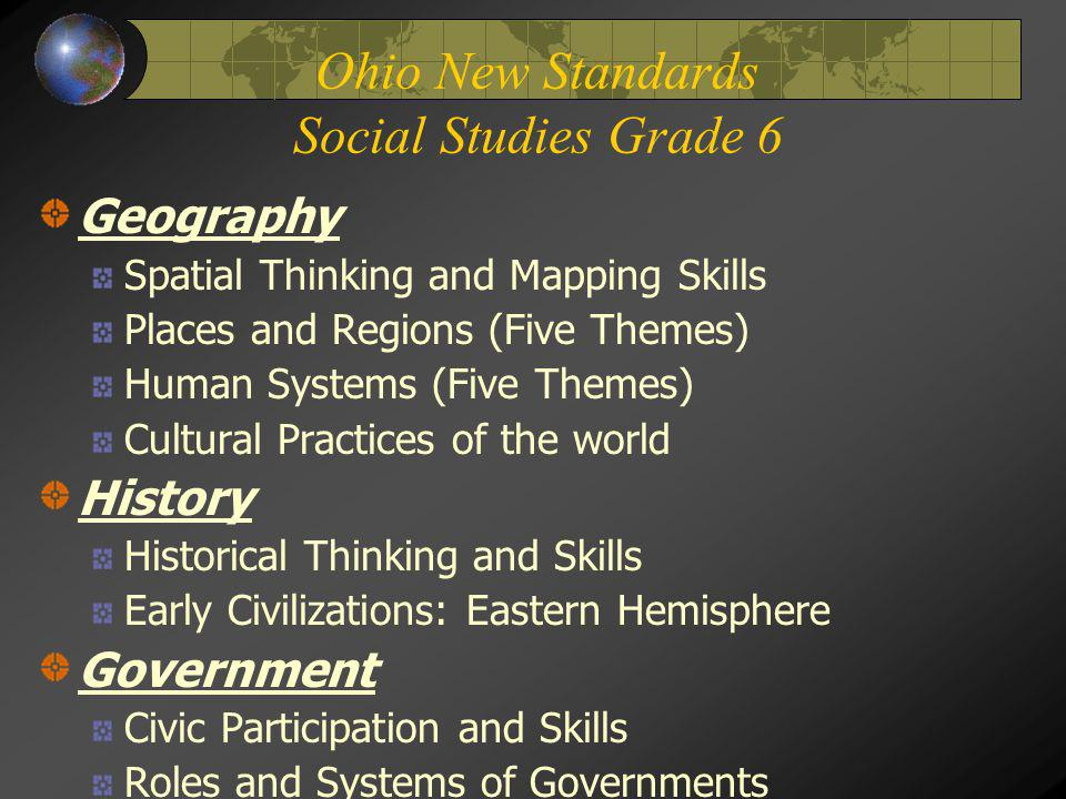 Ohio New Standards Social Studies Grade 6 Geography Spatial Thinking and Mapping Skills Places and Regions (Five Themes) Human Systems (Five Themes) C