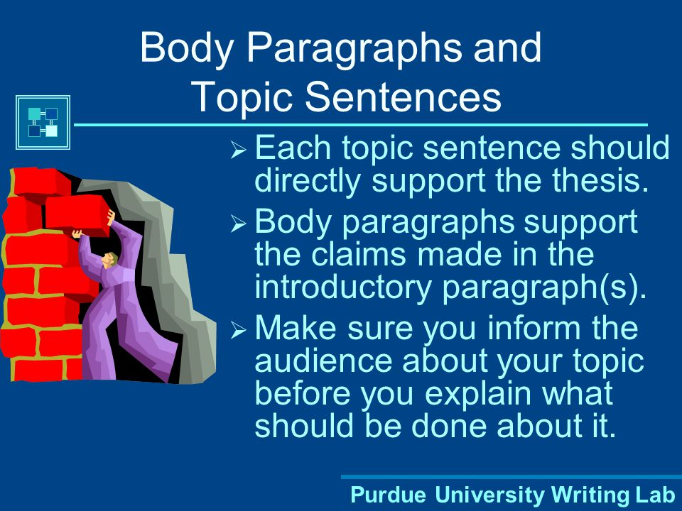 Purdue University Writing Lab Body Paragraphs and Topic Sentences  Each topic sentence should directly support the thesis.