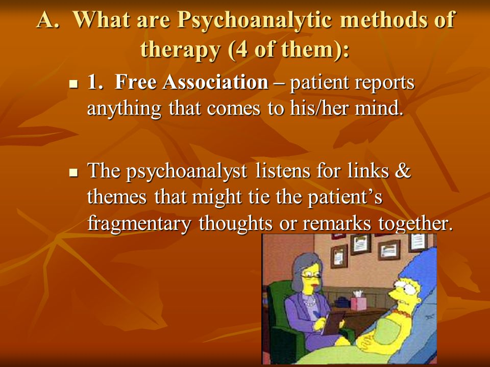 A.What are Psychoanalytic methods of therapy (4 of them): 1.