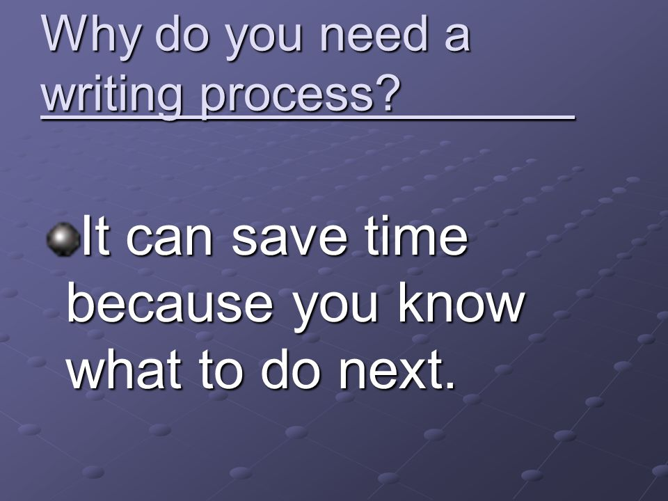 Why do you need a writing process? It can save time because you know what to do next.