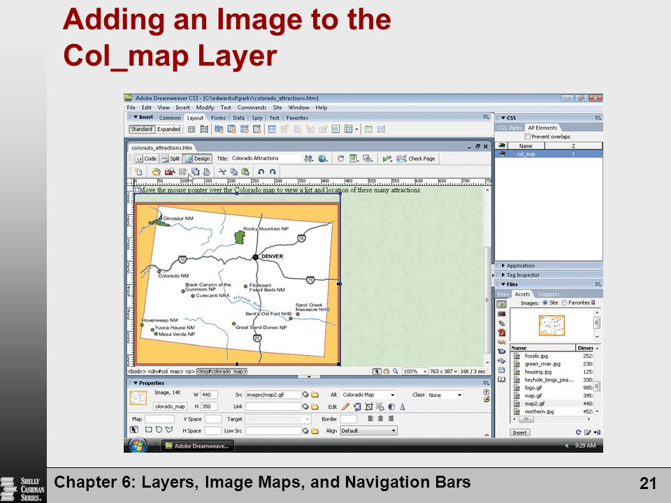 Chapter 6: Layers, Image Maps, and Navigation Bars 21 Adding an Image to the Col_map Layer