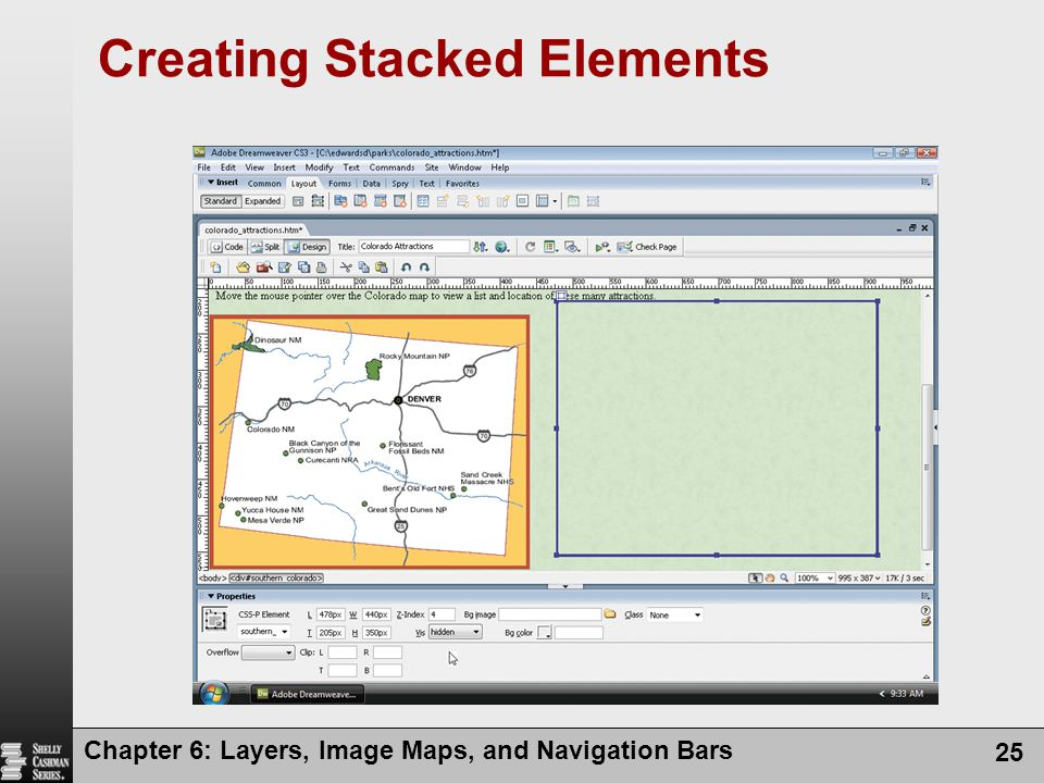 Chapter 6: Layers, Image Maps, and Navigation Bars 25 Creating Stacked Elements