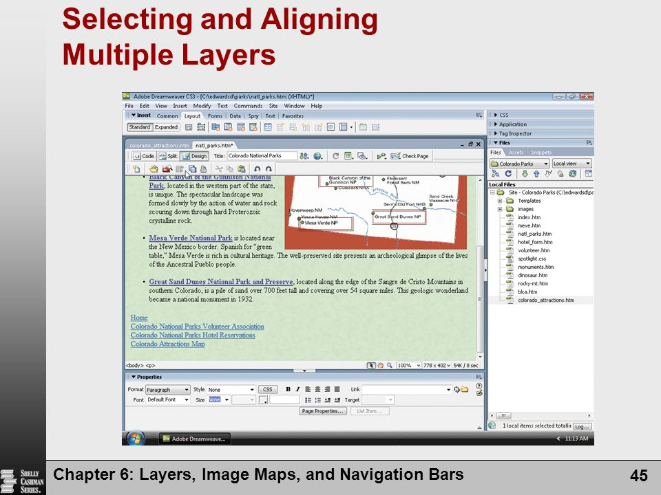 Chapter 6: Layers, Image Maps, and Navigation Bars 45 Selecting and Aligning Multiple Layers