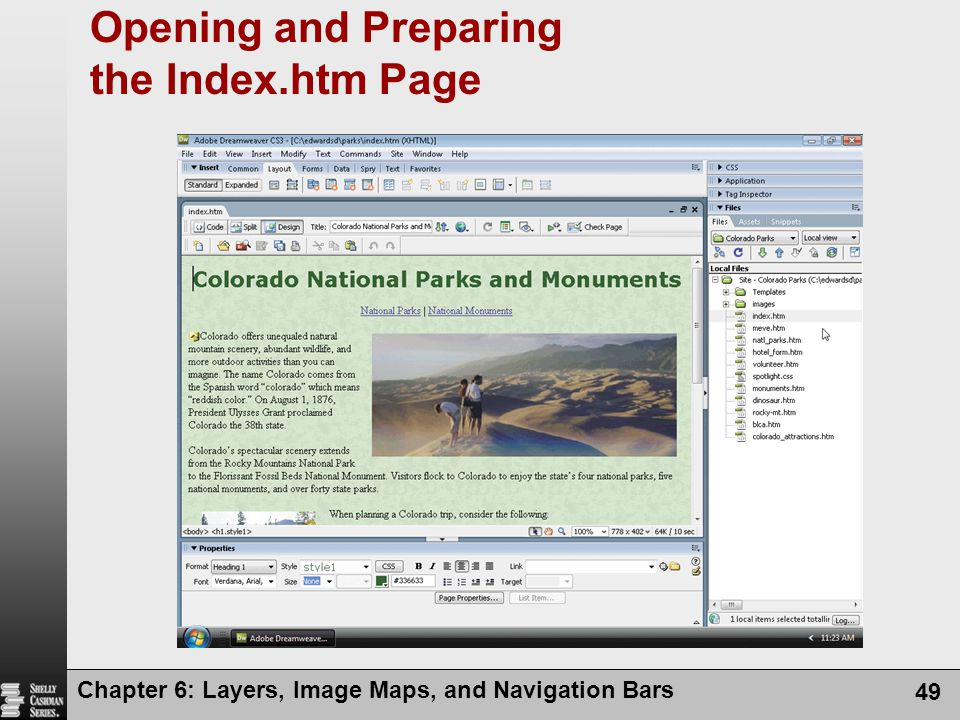Chapter 6: Layers, Image Maps, and Navigation Bars 49 Opening and Preparing the Index.htm Page