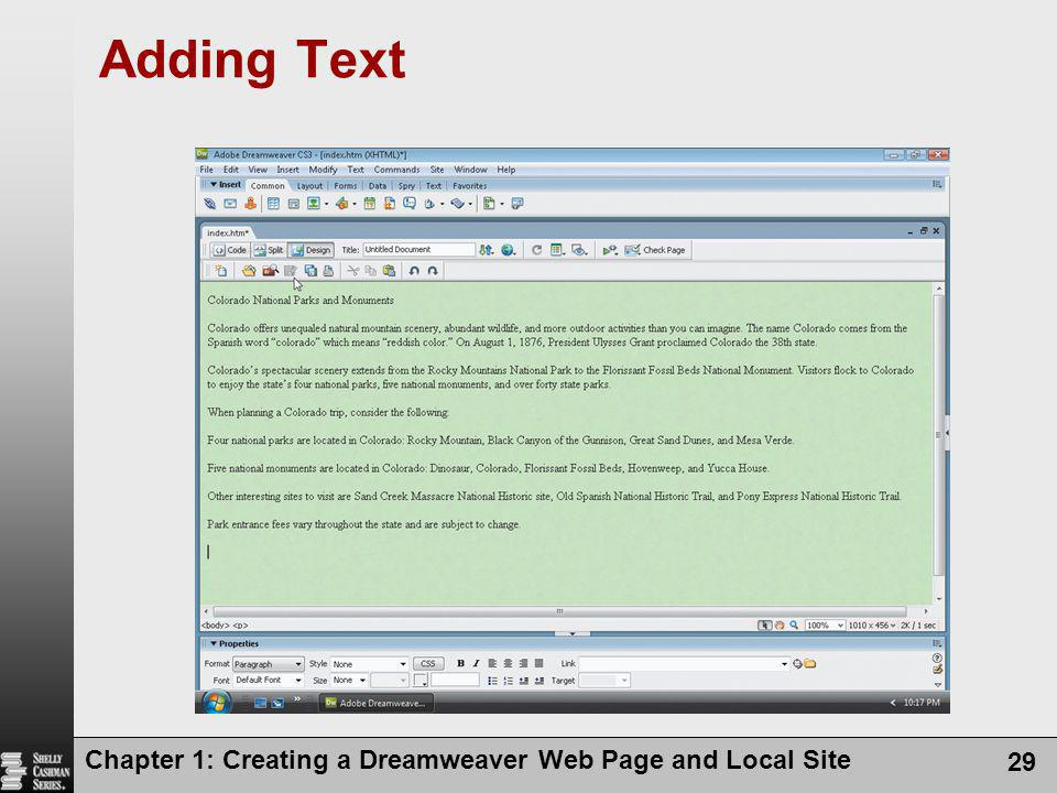 Chapter 1: Creating a Dreamweaver Web Page and Local Site 29 Adding Text