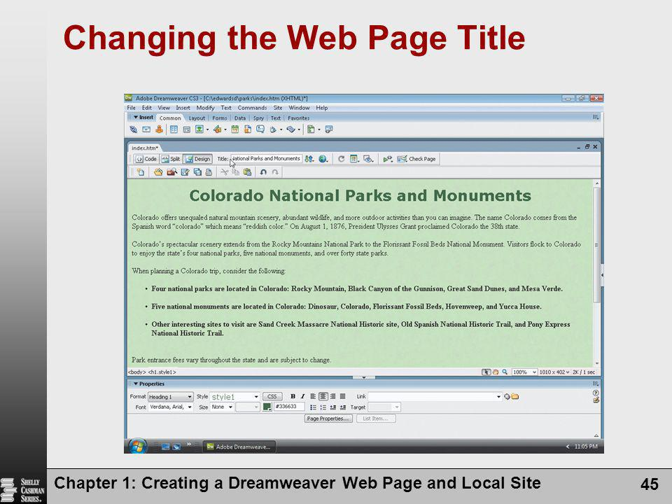 Chapter 1: Creating a Dreamweaver Web Page and Local Site 45 Changing the Web Page Title