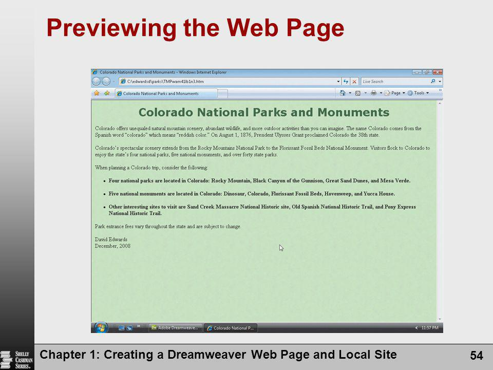 Chapter 1: Creating a Dreamweaver Web Page and Local Site 54 Previewing the Web Page