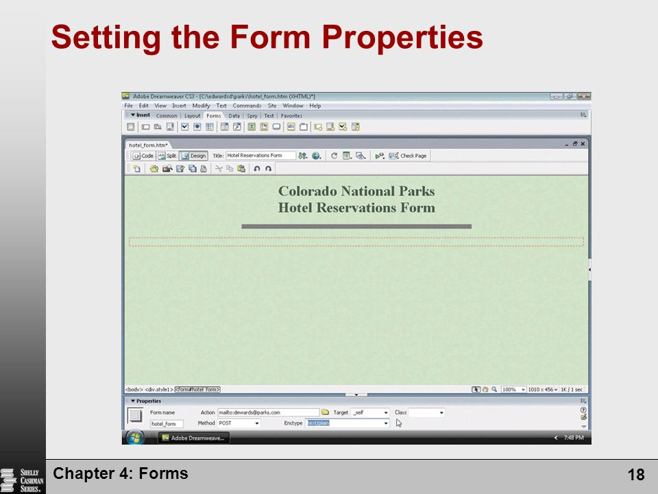 Chapter 4: Forms 18 Setting the Form Properties