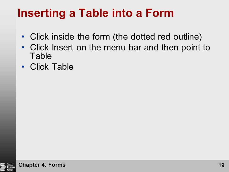 Chapter 4: Forms 19 Inserting a Table into a Form Click inside the form (the dotted red outline) Click Insert on the menu bar and then point to Table
