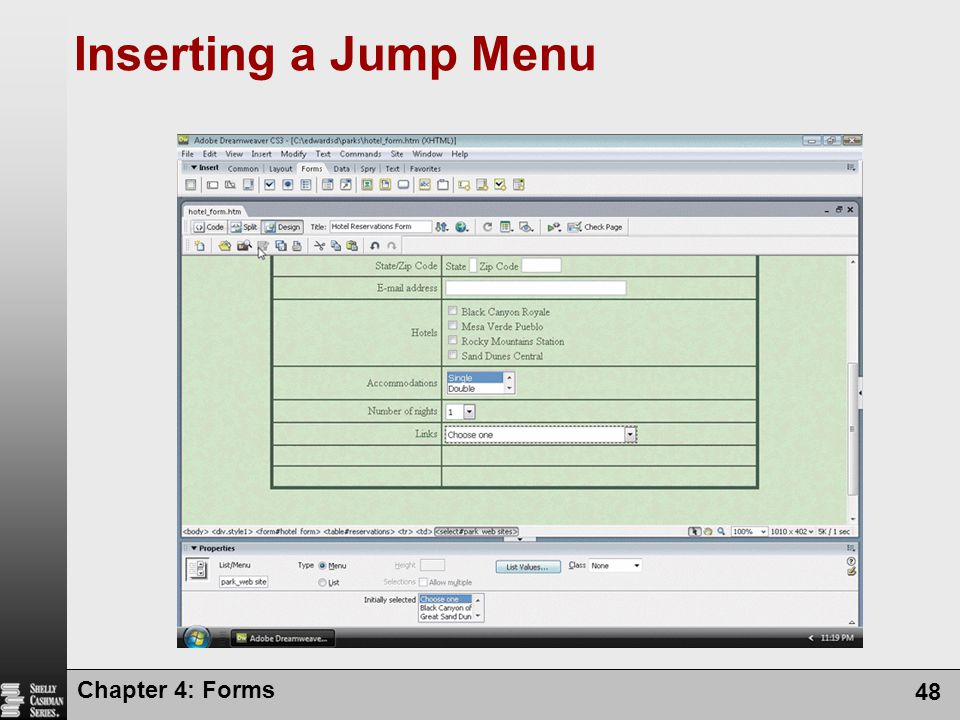Chapter 4: Forms 48 Inserting a Jump Menu