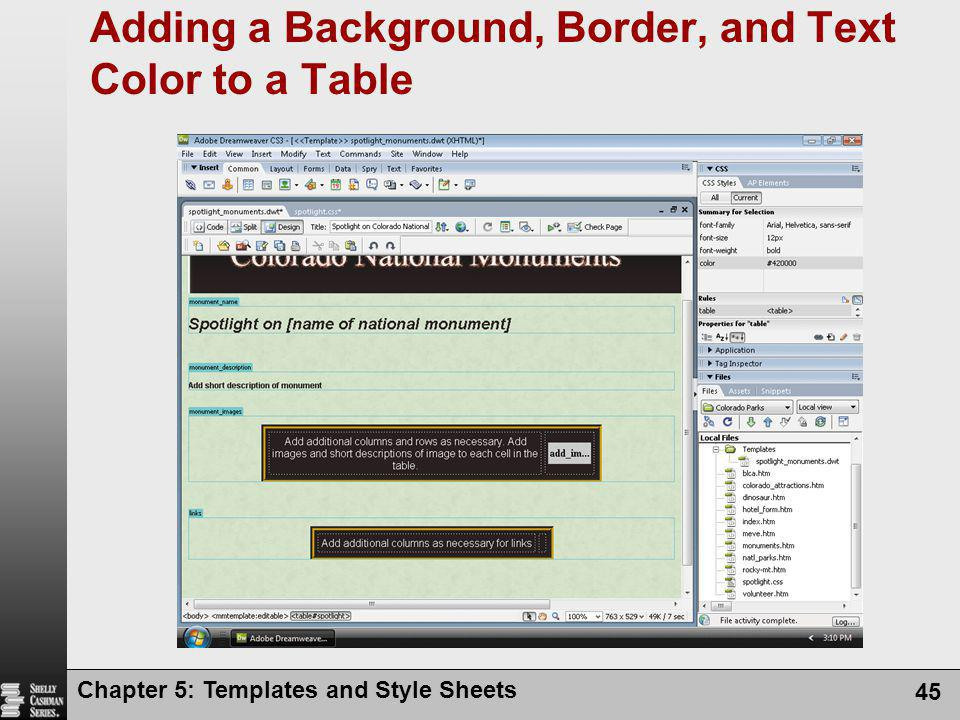 Chapter 5: Templates and Style Sheets 45 Adding a Background, Border, and Text Color to a Table